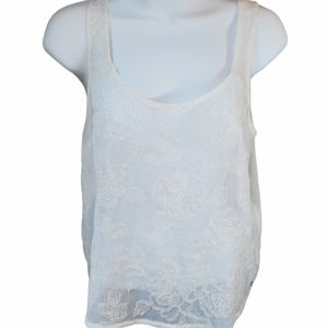 A&F White Floral Beaded Sheer Tank Top Size Small